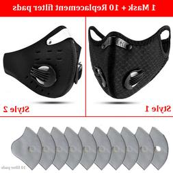 1 Mask+10 Filters Washable Face Mask Activated Carbon Filter