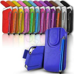 Button Close Leather Pull Tab Case Cover & Stylus For Variou