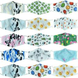 For Child Kids Face Mask Cotton W/Filter Pocket & PM2.5 Acti