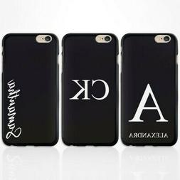 PERSONALISED INITIALS BLACK SILICONE GEL PHONE CASE COVER FO