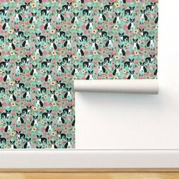 Removable Water-Activated Wallpaper Boston Terrier, Vintage
